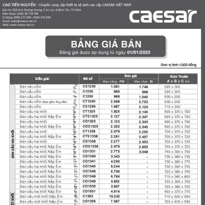 Bảng giá bán thiết bị vệ sinh caesar năm 2020