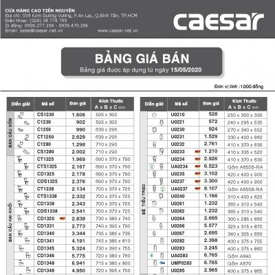 Bảng giá bán thiết bị vệ sinh Caesar 15-05-2020