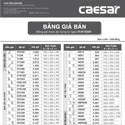 Bảng báo giá thiết bị vệ sinh Caesar 2021