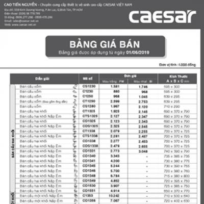 Bảng giá bán thiết bị vệ sinh caesar năm 2019